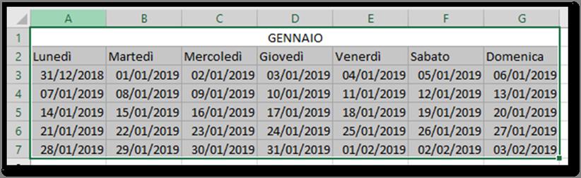Calendario Dicembre 2019 Excel.Excel Creare Un Calendario Per L Anno 2019 Utilizzando
