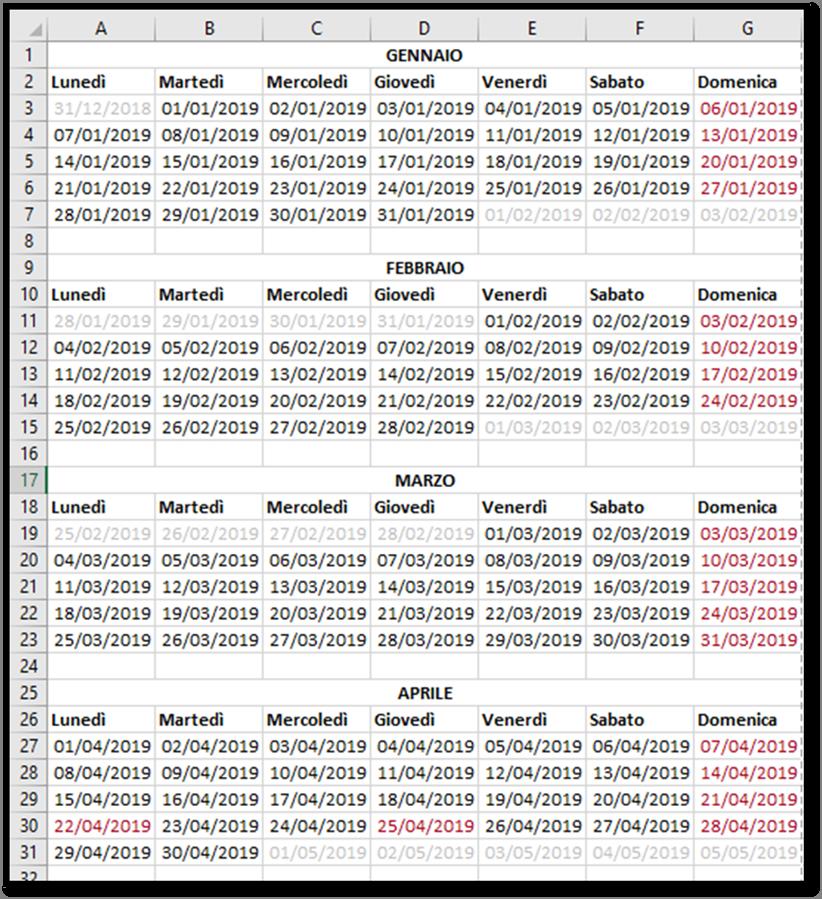 Calendario 2020 Con Numero Settimane.Excel Creare Un Calendario Per L Anno 2019 Utilizzando