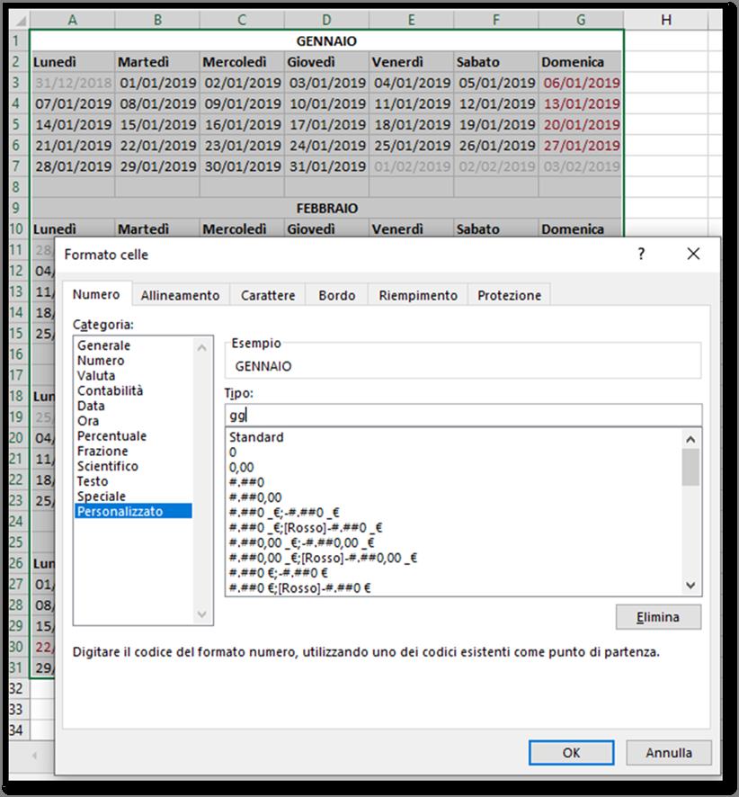 Calendario Solo Numeri.Excel Creare Un Calendario Per L Anno 2019 Utilizzando