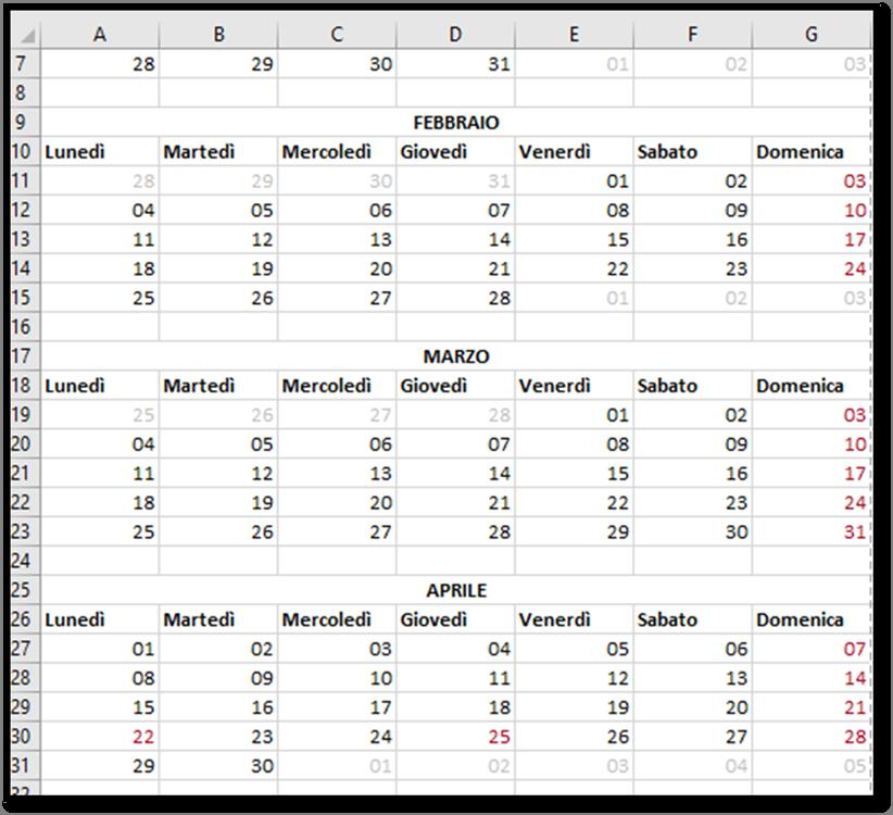 Calendario Con Festivita 2019.Excel Creare Un Calendario Per L Anno 2019 Utilizzando